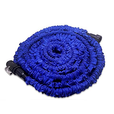 FlatLED Garden Water Hose, 50Ft Blue Collapsible Flexible Expanding Retractable Automatically without Spray (3 1 2 Inch Handles)