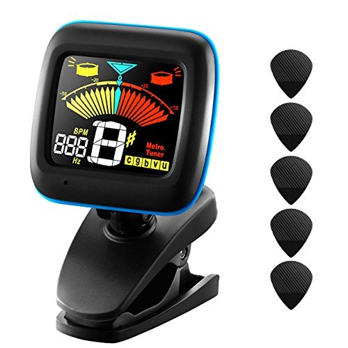 (Guitar Tuner, Atmoko 2-in-1 Clip-on Electronic Tuner and Metronome for Guitar, Ukulele, Bass, Violin and Chromatic, Clear LCD Colorful Display, 5 Guitar Picks, Battery Included)