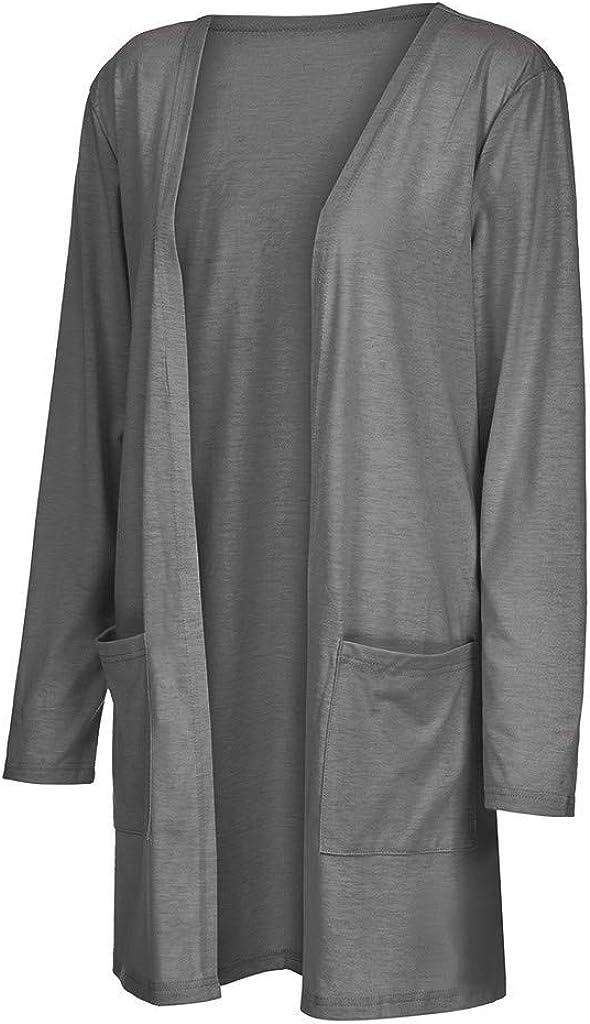 YiYLunneo Outwear for Womens Casual Long Kimono Cardigan Jackets Coats Pockets Tops