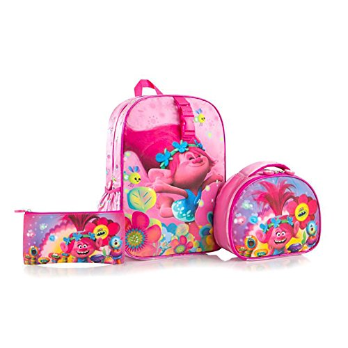 Heys Trolls Kids Multicolored Backpack with Lunch Bag and Pencil Case - 15 Inch