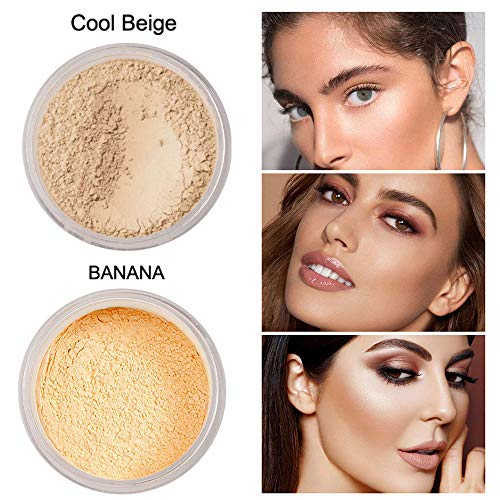 2 PCS Phoera Loose Setting Powder, Mineral Loose Face Powder Smooth Lightweight Long Lasting Finishing Powder Foundation with Makeup Powder Puff, Cool Beige & Banana