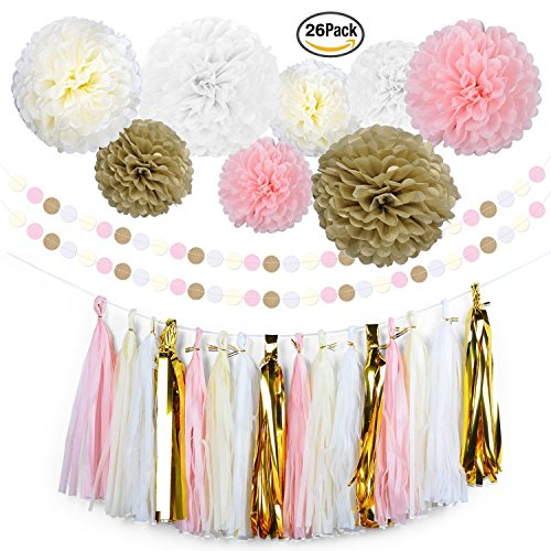 YookeeHome 26 Pcs Tissue Paper Pom Poms Flowers Tassel Garland Polka Dot Paper Garland Kit for Wedding, Birthday, Baby Shower, Room Decor and Themed Party Decorations