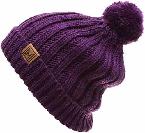 2ae0381d011 MIRMARU Women's Oversized Chunky Soft Warm Rib Knit Pom Pom Beanie Hat with  Sherpa Lined