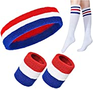 5 Sets Striped Sweatbands & Socks Set, Includes Sports Headband and 2 Pieces Wristbands and 1 Pair High Tu