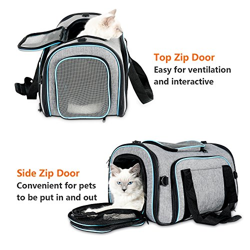 Airline Approved Pet Carrier Expanable- SUKI&SAMI Four Side EXpansion Oxford Portable Sofe-Sided Air Travel Bag for Small or Medium Dog and Cats by SUKI&SAMI (Image #7)