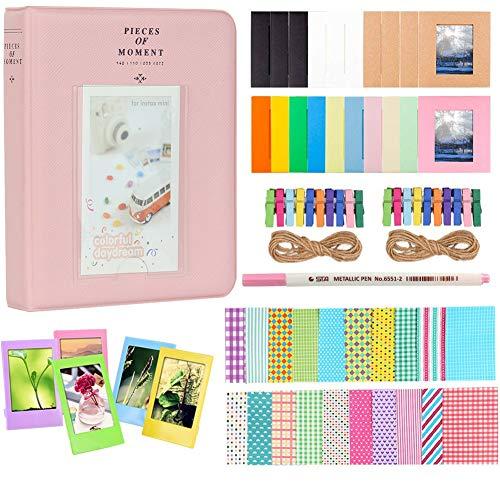Anter Photo Album Accessories for Fujifilm Instax Mini Camera, HP Sprocket, Polaroid Zip, Snap, Snap Touch Printer Films with Film Stickers, Album & Frame – 64 Pocket,Pink