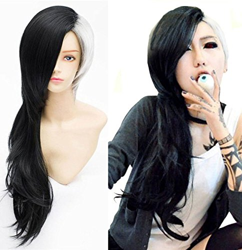Anogol Hair Cap+ Japanese anime Long Black and White Wig Cosplay Wig (Long) (Anime Girl With Black Hair And White Eyes)