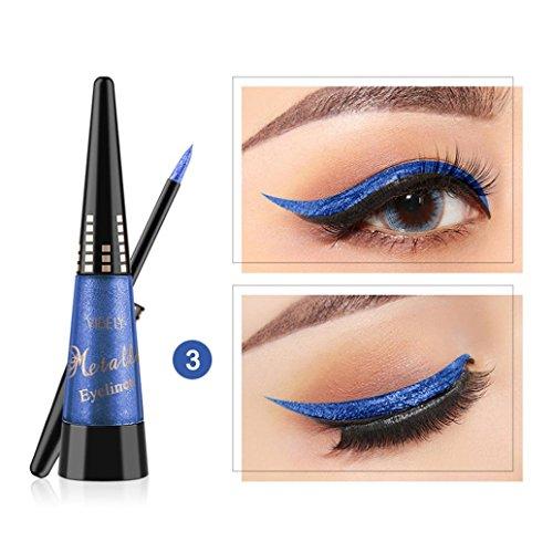 Liquid Eyeliner Waterproof Glitter for Girls, Iuhan Women's Waterproof Sparkle Eyeshadow Long Lasting Metallic Glitter Eyeliner Pen Shimmer Eye Shadow for Parties, Cosplay, Masquerade ()