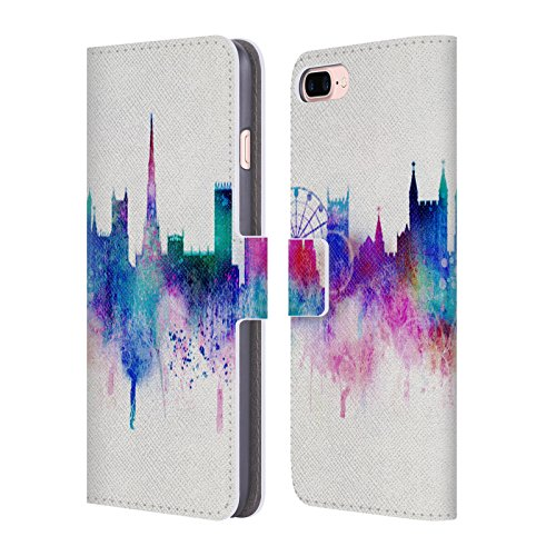 Official Ali Chris White Cityscape Watercolour Map Collection Leather Book Wallet Case Cover for iPhone 7 Plus/iPhone 8 ()