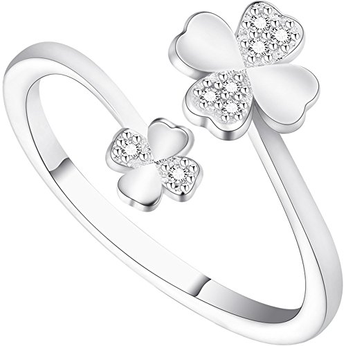 (Sterling Silver Plated Cubic Zirconia Double Four Clover Flowers Open Band)