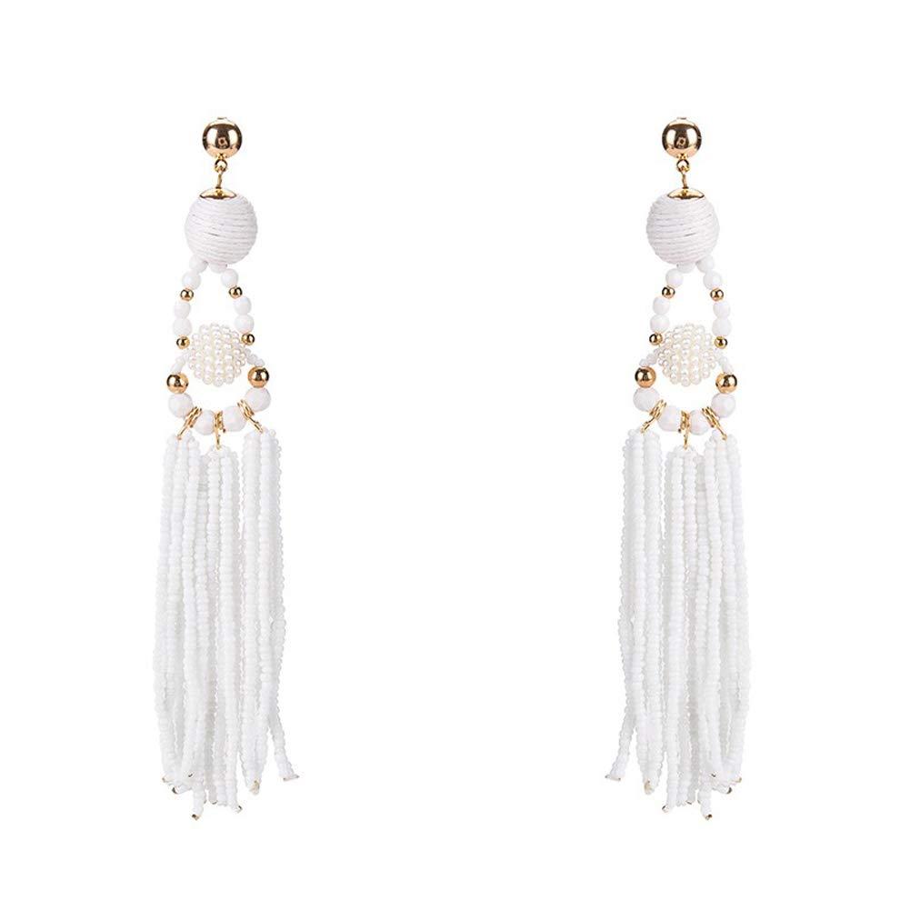 KissYan Thread Ball Beaded Tassel Dangle Earrings Long Fringe Drop Bohemian Statement Earrings Ball Ear Drops For Women Girls(White)