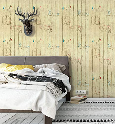 Peel and Stick Wallpaper Yellow Wood Contact Paper Vintage Removable Wallpaper Faux Wood Grain Contact Paper Wood Look Self Adhesive Film Shelf Drawer Liner Wall Covering Vinyl Roll17.7''x78.7''