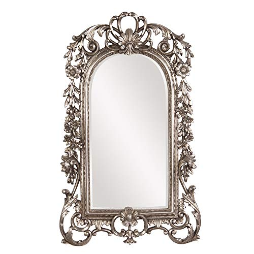 Howard Elliott Sherwood Hanging Accent Wall Mirror, Ornate Arched Antique Silver Resin Frame, 14 x 22 Inch (Elliott Howard Collection)