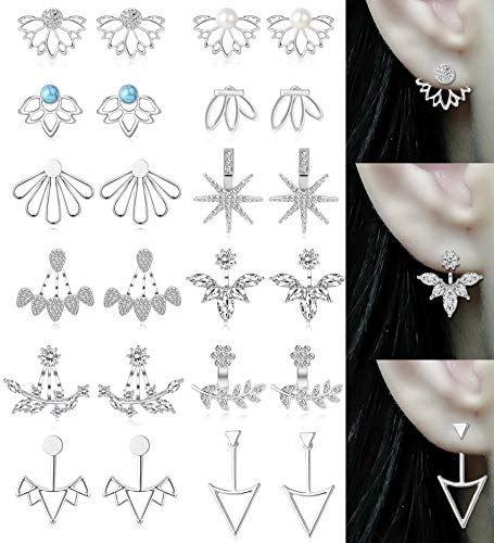 Tornito 12 Pairs Lotus Flower Earring Studs Chic CZ for sale  Delivered anywhere in USA