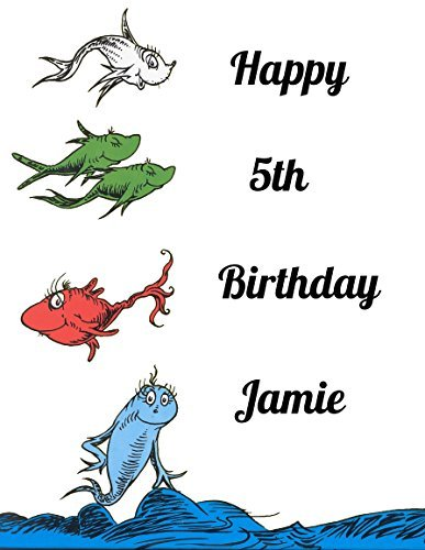 Dr Seuss One Fish Two Fish Red Fish Blue Fish Edible Image Photo Sugar Frosting Icing Cake Topper Sheet Personalized Custom Customized Birthday Party - 1/4 Sheet - 76314 -