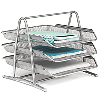 Charmant Mindspace 3 Tier Desk Tray Office Organizer | The Mesh Collection, Silver