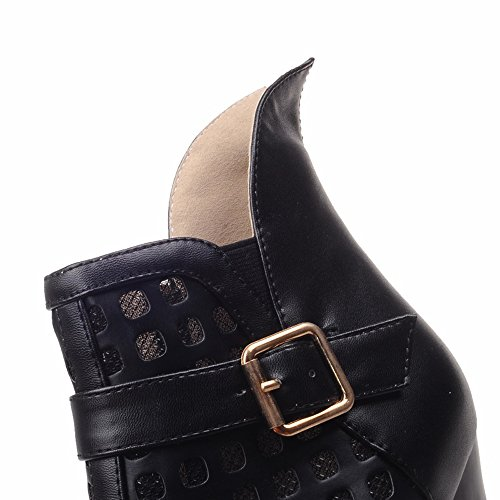 ENMAYER Womens Summer Breathble High Heeled Platform Boots With Buckle Black UwVb2WbNk