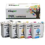 Kingjet Compatible Ink Cartridge Replacement for 940XL Work with Officejet Pro 8000, 8500, 8500a Series Printers, 5Pack(2BK 1C 1M 1Y)