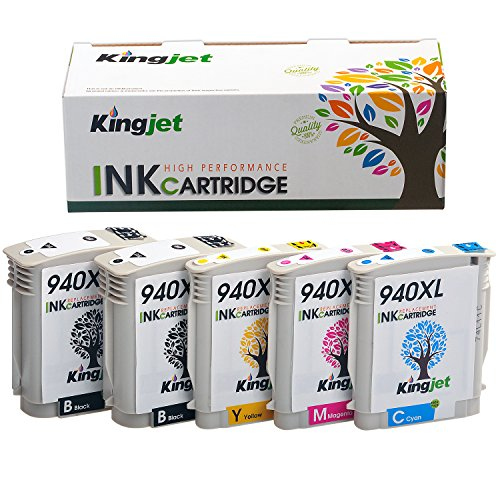 Kingjet Remanufactured Ink Cartridge Replacement for 940XL Work with Officejet Pro 8000, 8500, 8500a Series Printers, 5Pack(2BK 1C 1M 1Y) ()