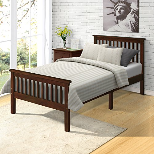 Harper&Bright Designs Wood Platform Bed with Headboard/Footboard/ Wood Slat Support/ No Box Spring Needed Twin (Espresso) (Bed And Footboard Headboard)