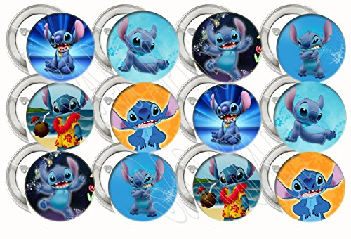 Collectible Metal Buttons - Lilo and Stitch, STITCH ONLY Party Favors Supplies Decorations Collectible Metal Pinback Buttons Pins, Large 2.25