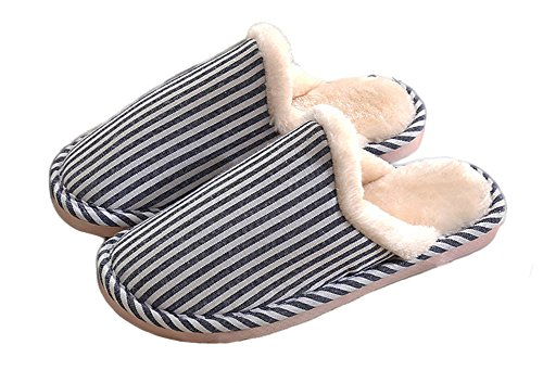 Auspicious beginning Lovers Vertical Stripe House Slipper Bedroom Shoes Blue PiVf28Tn