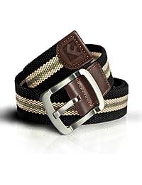 "<span class=""a-offscreen"">[Sponsored]</span>Mens Canvas Belts Black Khaki Stripe Waist Webbed Belt Tactical Nylon Wide"