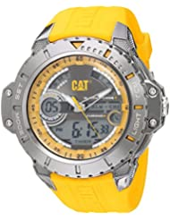 CAT WATCHES Mens Anadigit Quartz Stainless Steel and Rubber Casual, Color:Yellow (Model: MA15527137)