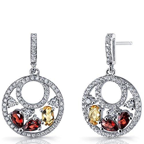- Garnet and Citrine Sterling Silver Double Hoop Dangle Drop Earrings