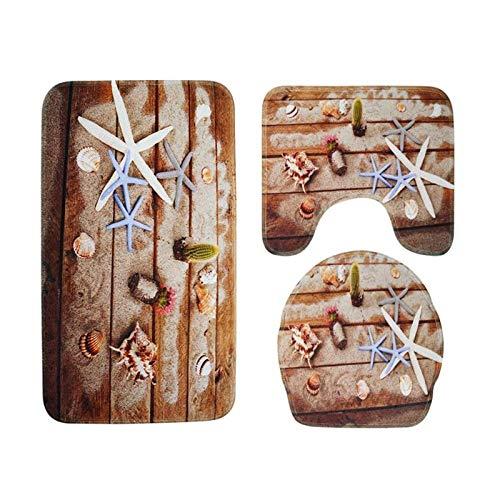 DIAGE 3Pcs/Plank Printed Non Slip Water Absorb Floor Carpet Bath Mats Toilet Carpet Set Polyester Fiber Washable Toilet Rugs 03 by DIAGE