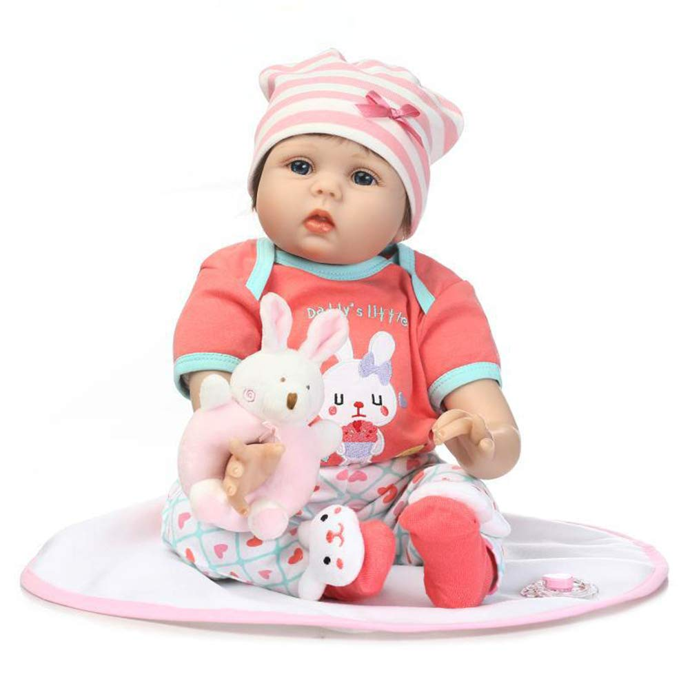 Accbaessy Babypuppen Silikon Kinder Spielzeug Baumwollkörper weich und angenehm anzufassen Geeignet 55 cm, 21 inch