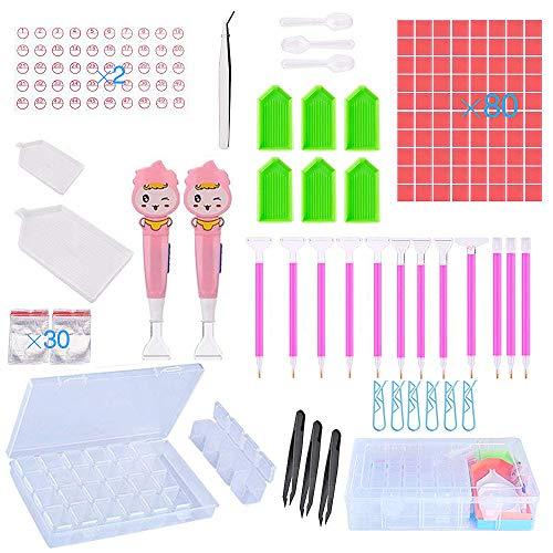Diamond Painting Tools Set, JLPOW 149 Pcs 5D DIY Embroidery Cross Stitch Tool Kit with 28 Slots Diamond Embroidery Box for Art Craft, Including Diamond Painting Pen, Diamond Stitch Pen, - Handed Tray