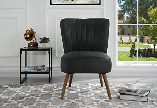 Classic Brush Microfiber Accent Chair with Tufted Details (Dark Grey)