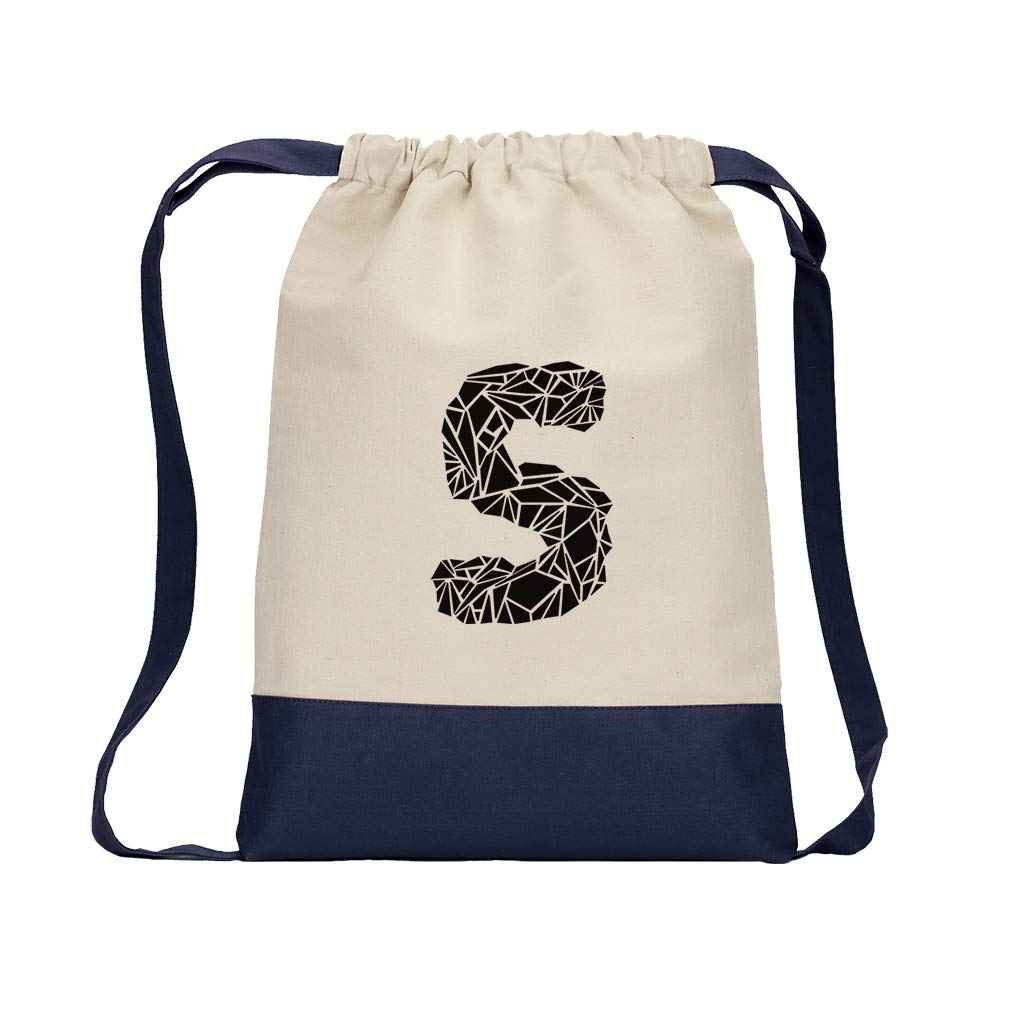 ''S'' Crystal Glass Monogram Letter S Cotton Canvas Color Drawstring Bag Backpack - Navy