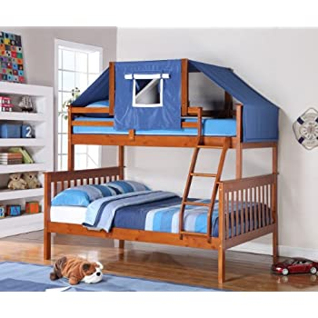 Twin Over Full Bunk Bed W Tent Kit 1223E Light Espresso