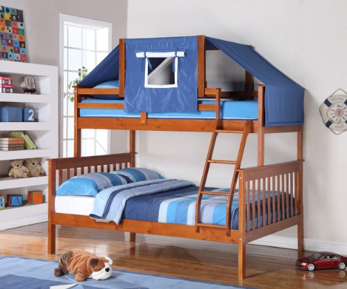 Twin Over Full Bunk Bed w/ Tent Kit (1223E (Light Espresso w/ Blue Tent) (Full Youth Captain Bed)