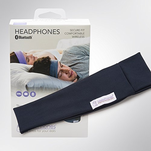 AcousticSheep SleepPhones Wireless   Bluetooth Headphones for Sleep, Travel & More   Flat Speakers   Rechargeable Battery Lasts Up to 10 Hours   Galaxy Blue - Breeze Fabric (Size M)
