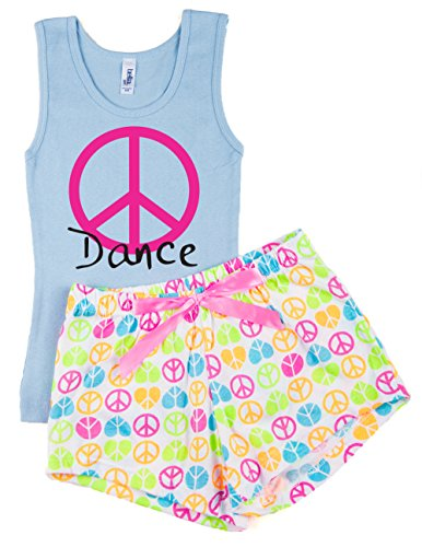 Activewear Apparel Girl's Dance Top and Shorts Pajama Set (Large, Light Blue/White)