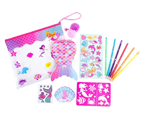Hot Focus Color Me Notebook Set  Mermaid Coloring Notebook, Pencil Case, Erasable Colored Pencils, Notepad, Stencils and Stickers For Kids