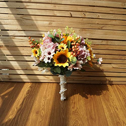 U'Artlines Bridal Wedding Bouquet Romantic Handmade Artificial Holding Flower with Pearls for Wedding Party Home Decoration (Sunflower&Hydrangea - Sunflower Bouquet Daisy