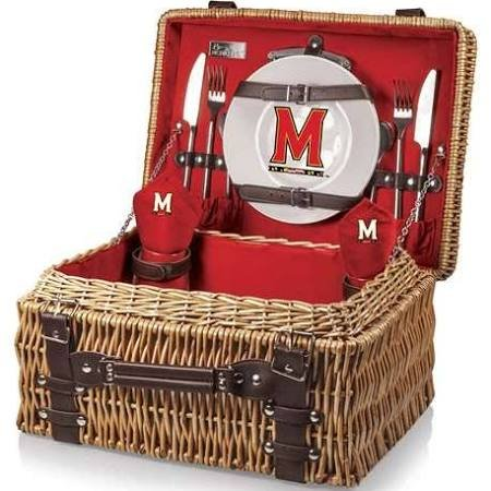 NCAA Maryland Terrapins Champion Picnic Basket with Deluxe Service for Two, Red