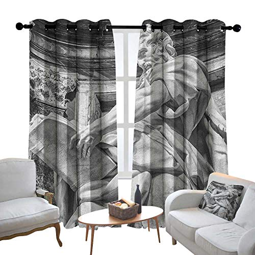 Customized Curtains Sculptures,Statue of St. Matthew at Basilica of St. John Lateran Rome Cathedra with Pillars, Pale Grey,Blackout Thermal Insulated,Grommet Curtain Panel Set of 2 ()