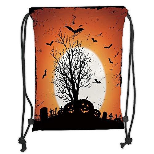 Custom Printed Drawstring Sack Backpacks Bags,Vintage Halloween,Grunge Halloween Image with Eerie Atmosphere Graveyard Bats Pumpkins,Orange Black Soft Satin,5 Liter Capacity,Adjustable String Closure, -