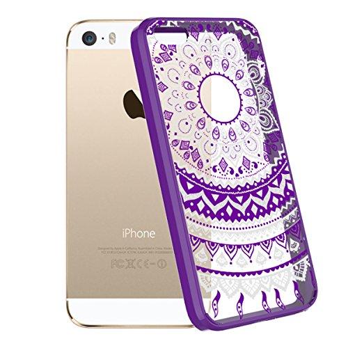 Smart Legend iPhone se cellulare, iPhone 5/5S custodia trasparente per cellulare con motivo floreale Mandala Viola Retro Utral sottile floreale chiara PC Custodia Crystal backcomver e silicone gel mor