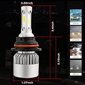 DJI 4X4 9007 LED Headlight Bulbs Conversion Kit, HB5 Hi/Lo Dual Beam CREE Chips 150W 15000 Lumen 6000K Cool White - 1 Pair