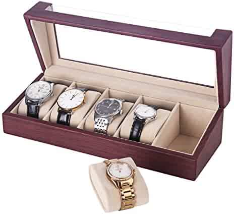 SONGMICS Watch Box 5 Slots Watch Organizer Display Case for Men and Women Mahogany Faux Leather UJWB05R