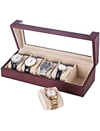 Watch Box 5 Slots Watch Organizer Display Case for Men and Women Mahogany Faux Leather UJWB05R