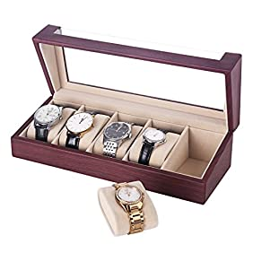 SONGMICS Father's Day Watch Box 5 Slots Watch Organizer Display Case for Men and Women Rose Faux Leather UJWB05R
