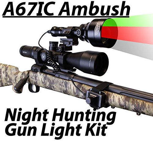 Wicked Lights A67IC Ambush 3-Color-In-1 (Green, Red, White LED) Night Hunting Gun Light Kit With Intensity Control for Coyote, Predator, Varmint & Hogs