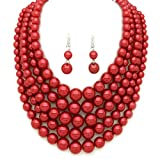 Women's Simulated Faux Pearl Five Multi-Strand Statement Necklace and Earrings Set (Red Wine)